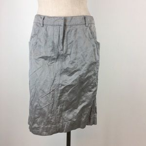 Eileen fisher skirt size 6 silver metallic cotton